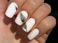 White <3 Feather ,nice nail design