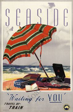 Vintage seaside summer beach travel poster repro 24x36