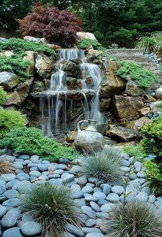 turn a boring retaining wall into an exciting safe water feature, landscape… Diy Water Feature, Backyard Water Feature, Ponds Backyard, Backyard Waterfalls, Garden Ponds, Koi Ponds, Backyard Ideas, Garden Bed, Water Garden