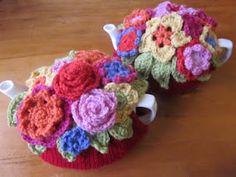 Floral crochet tea cosies