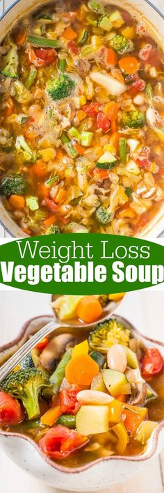 Weight Loss Vegetable Soup - Trying to shed some pounds or get healthier? Try this easy, flavorful soup thats ready in 30 minutes and loaded with veggies!! Very filling and hearty! Zero WW Smart Points!!
