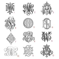 Custom three letter monograms - choose your style, from antique books printed in the 1800s