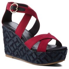 322c288d306 Sandály TOMMY HILFIGER - Th Pattern Wedge Sandal FW0FW02800 Scooter Red 614