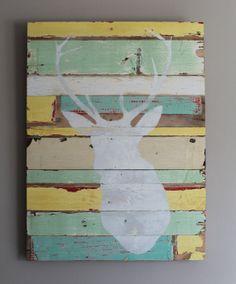 Reclaimed wood stag head wall art #rustic #reclaimedwood #staghead