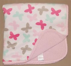 Carters White Green Gray Butterfly Print Pink Sherpa Baby Blanket Infant Girls #Carters