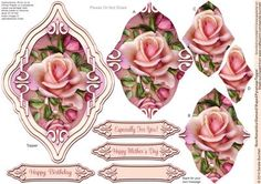 Rose Romantica Diamond Shaped Pyramage Topper on Craftsuprint designed by Sandie Burchell - Beautiful Shaped Pyramage Topper with 4 Layers of Pyramage and choice of sentiment panels which includes: Happy Birthday, Especially For You! Happy Mother's Day or Blank for your own message. To search for more in this style click on my name and enter diamond pyramage topper in my search box. Please take a look at my other designs by clicking on my name. - Now available for download!