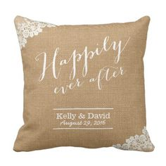 Rustic Wedding ceremony Burlap & Lace Fortunately Ever After Throw Pillow. ** Find out more at the picture