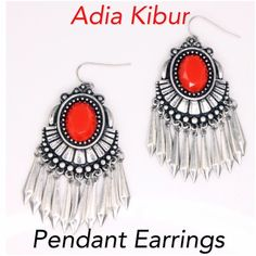 Adia Kibur Pendant Earrings 100% Brand new.  One Size Material Content: Metal Alloy, Acrylic.  Made in China.   Smoke free home. Adia Kibur Jewelry Earrings
