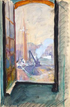 LOMBARD, Alfred (1884-1973) Fenêtre ouverte sur le Port de Marseille.