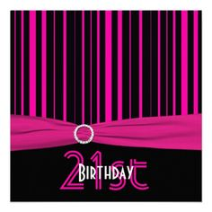 Pink and Black Stripe 21st Birthday Invites