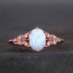 Opal Wedding Ring Set, Vintage Opal Engagement Ring, Dream Engagement Rings, Morganite Engagement, Wedding Rings, White Opal Ring, Blue Topaz Ring, Blue Rings, Opal Rings