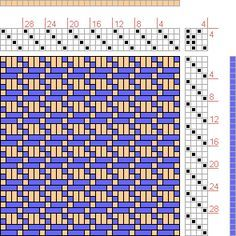 Hand Weaving Draft: Horizontal Inset Rectangles, Handweaving.net Visitors, 4S, 4T - Handweaving.net Hand Weaving and Draft Archive