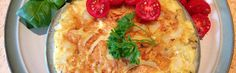Spanish Omelette with goat cheese, cherry tomato and rosemary Spanish Omelette, Alkaline Foods, Goat Cheese, Cherry Tomatoes, Goats, Recipes, Alkaline Diet Foods, Recipies, Ripped Recipes