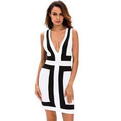 #D22632 Black White Color-block V Neck Sleeveless Dress