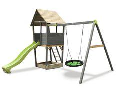 Kinder-Spielturm EXIT Aksent Spielturm, Nestschaukel mit Rutsche, Sandkasten - Viele Möglichkeiten zum Spielen und Entdecken Drafting Desk, Magazine Rack, New Homes, Storage, Wood, House, Furniture, Home Decor, Organic Gardening