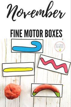 November Fine Motor Task Boxes for Preschool and Kindergarten