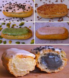 Tuto eclairs glacage creme patissiere Eclairs en folie   Pâte à chou & Eclairs vanille, café, pistache, sésame noir (tutoriel photo)