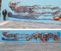 Astro Skeleton Graffiti - Nychos' work focussing heavily on dissection, anatomy, skeletons and skulls.