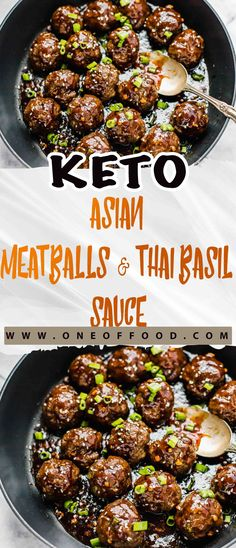 Keto Asian Meatballs & Thai Basil Sauce – One of food Keto Asian Meatballs & Thai Basil Sauce – Eines der Lebensmittel Low Carb Recipes, Diet Recipes, Cooking Recipes, Zoodle Recipes, Recipes Dinner, Sauce Thai, Asian Meatballs, Keto Meatballs, Low Carb Meats