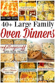 Your family will love this list of over 40 large family oven dinners! These large family oven dinners will help you feed your family a healthy meal without a lot of prep work. family dinner Simple and Easy Large Family Oven Dinners - Large Family Table Cheap Family Meals, Big Meals, Easy Large Group Meals, Easy Group Dinner, Meals For Large Families, Dinner For Crowd, Large Group Food, Meals For Groups, Christmas Dinner For A Crowd