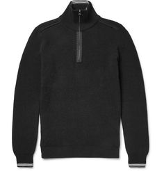 This understated black sweater from <a href='http://www.mrporter.com/mens/Designers/Lanvin'>Lanvin</a> is a warm yet lightweight layering option. Designed with a stand collar and half zip, it's knitted from a soft cotton-blend with textural accents at the shoulders.