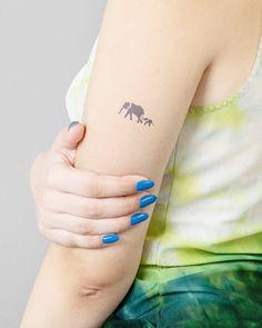 Above Elbow Tattoo, Elbow Tattoos, Ohana Tattoo, Inkbox Tattoo, Mother Daughter Tattoos, Tattoos For Daughters, Ohana Means Family, Semi Permanent Tattoo, Elephant Tattoos