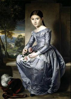 Tejeo Díaz, Rafael (Spanish) 'Portrait of a Seated Girl with a Landscape in the Background' (1842), 111 cm x 81,5 cm