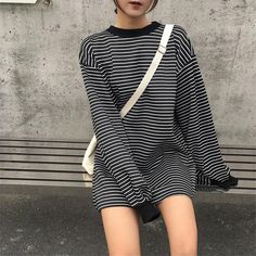 "OVERSIZED LONG WHITE STRIPES LONG SLEEVE BLACK SWEATSHIRT Use coupon ""ITPIN"" to get 10% OFF entire order - itgirlclothing.com 