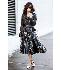 @Who What Wear - Krystal Bick of This Time Tomorrow  On Bick: McQ Alexander Mcqueen Flared Peplum Leather Jacket ($1380); Patricia Viera dress; J.W. Anderson x Aldo shoes.