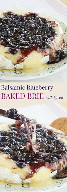 Balsamic Blueberry Baked Brie Recipe with Bacon - an ooey gooey. Balsamic Blueberry Baked Brie Recipe with Bacon - an ooey gooey cheesy appetizer recipe with the perfect combo of sweet and savory. A yummy party recipe! No Cook Appetizers, Appetizer Dishes, Appetizers For Party, Appetizer Recipes, Delicious Appetizers, Avacado Appetizers, Prociutto Appetizers, Mexican Appetizers, Halloween Appetizers