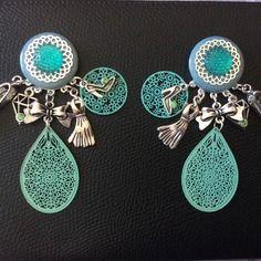 Boucles d'oreilles vert d'eau et argentée