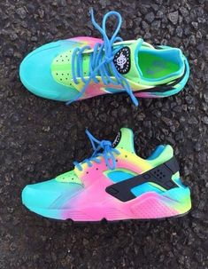 Shop from the best fashion sites and get inspiration from the latest nike rainbow shoes. Fashion discovery and shopping in one place at Wheretoget. Cute Nike Shoes, Cute Sneakers, Nike Air Shoes, Sneakers Nike, Nike Footwear, Nike Shoes Huarache, Huaraches Shoes, Hype Shoes, Buy Shoes