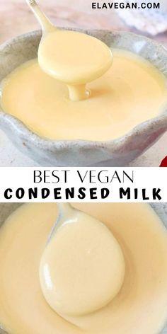 Milk Recipes, Dairy Free Recipes, Whole Food Recipes, Vegan Recipes, Cooking Recipes, Vegan Sauces, Vegan Foods, Vegan Dishes, Vegan Condensed Milk