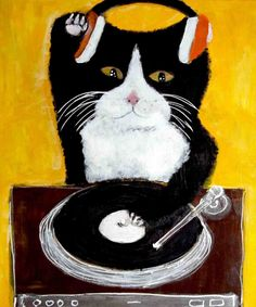 cat dj by pepe shimada Crazy Cat Lady, Crazy Cats, I Love Cats, Cool Cats, Chat Web, Cat Wine, Here Kitty Kitty, Dj Kitty, Son Chat