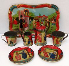 Antique Tin Plate Litho Lithograph Punch and Judy Child's Toy Tea Service Set