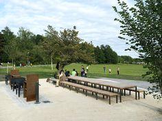 Husby Barbecue Area « Landscape Architecture Platform | Landezine Urban Furniture, Outdoor Furniture Sets, Outdoor Decor, Barbecue Area, Natural Park, Landscape Architecture, Golf Courses, Dolores Park, Public