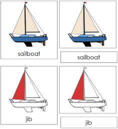 Sailboat Nomenclature Cards: 15 parts of a sailboat (nomenclature in red) in card format. Printable Montessori nomenclature cards and books for children by Montessori Print Shop. Moon Facts, Boat Theme, Purple Crayon, Transportation Theme, Blue Boat, Card Book, Montessori Toddler, Montessori Materials, School Themes