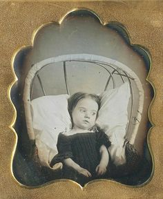 A little one in a wicker pram...Ca.1850. I refuse to believe she was ill in this daguerreotype. She lived a long and happy life. Her offspring are many unto the 5th generation.
