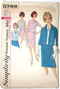 vintage sewing pattern - womens suit with jacket skirt and blouse 1960s Simplicity 5793 - 40 bust