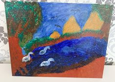 Handmade landscape painting with swans swimming on a river I've used acrylic paint and a couple of layers of glaze The painting is original and unique, great to offer as a gift or just frame it and hang it straight away on your wall. Swan Painting, River Painting, Blue Painting, Painting & Drawing, Nature Paintings, Cool Paintings, Paintings For Sale, Landscape Art, Landscape Paintings