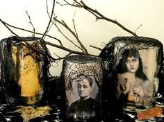 Creepy Halloween decor alert! Carolyn of Homework took vintage portraits, covered the eyes with glow-in-the-dark paint, and rolled them to fit into jars. The subjects' eyes seem to follow you around the room, and layers of black netting and twigs add to the haunting effect.