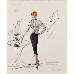 """Patricia Neal costume sketch for """"Hud"""" by Edith Head"""