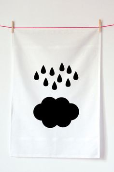 Cloud Tea Towel.  Hand screen-printed in France.