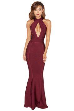 Clothing : Max Dresses : 'Ricadonna' Plum Bandage Maxi Dress