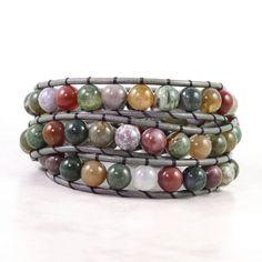 Gemstone Leather Wrap Bracelet Gray Leather Hippie Fashion Boho Style Triple Wrap Green Red Fancy Jasper