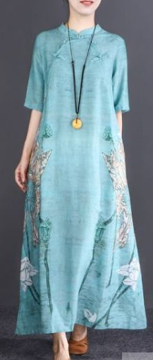 Fine light blue print cotton linen caftans oversize Stand linen gown casual half sleeve baggy dresses Long Fall Dresses, New Long Dress, Plus Size Long Dresses, Baggy Dresses, Half Sleeve Dresses, Cotton Wedding Dresses, Cotton Dresses, Summer Dress Outfits, Casual Summer Dresses