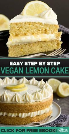 Moist, light, easy to make and CRAZY tasty - this dairy free / vegan lemon cake is the best you will EVER try! A perfect vegan birthday cake or vegan dessert, this is a cake you NEED in your life! Cake The Best EVER Dairy Free / Vegan Lemon Cake Healthy Vegan Dessert, Healthy Cake, Vegan Dessert Recipes, Vegan Treats, Vegan Foods, Cake Recipes, Vegan Baking Recipes, Lemon Recipes, Cooking Recipes