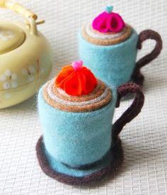 Felt teacup pincushions