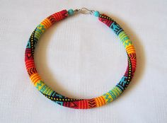 Bright Colors Bead Necklace - Bead Crochet Necklace - Summer Beaded Necklace - Beadwork Necklace - Modern necklace - multicolor necklace This necklace is crocheted on cotton thread with thousand African Beads Necklace, Seed Bead Necklace, Bead Earrings, Crochet Necklace, Beaded Necklace, Beaded Bracelets, Women's Necklaces, Rope Necklace, Seed Beads