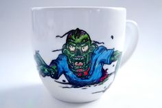 Zombie Living Dead  Mug Hand Painted Ceramics and by atelierChloe